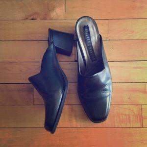 90s leather chunky heel slides